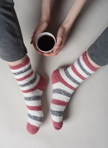 Dagi Kadın Çizgili Ev Çorabı 2'li Ekru